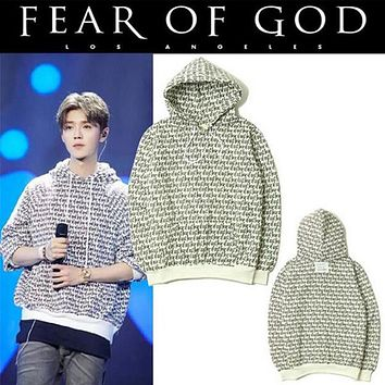 2017 FEAR OF GOD Body Letters Print Pullover Hoodies Couples Cotton FOG Hood Hoodie Plus Cashmere Sweater Tops