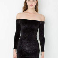 Stardust Velvet Long Sleeve Off-Shoulder Dress