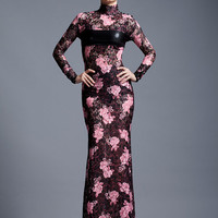 SALE Vampish Lace and Leather-look Fishtail Gown