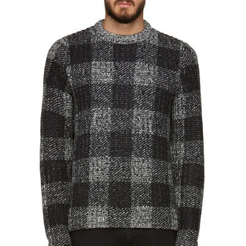 Rag And Bone Black And Grey Check Knit Theo Sweater