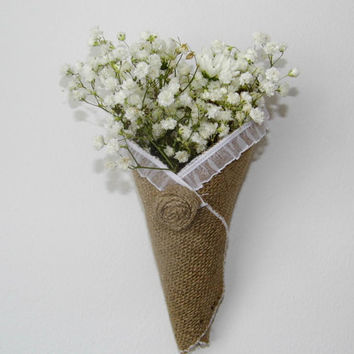 Burlap flower cone pew cone rustic wedding decor shabby chic decor set of 10