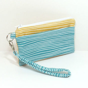 Teal Yellow Clutch, Wristlet Clutch, Zipper Clutch Purse, Cell Phone Wallet, iPhone Wristlet, Phone Wallet, Cell Phone Wristlet, Clutch Bag