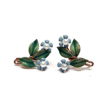 Krementz Vintage Faux Pearl Enameled Flower Earrings Blue and Green Gold Tone Mid Century Floral Jewelry Spring Summer