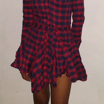 Women's Checkered Print  Long Sleeve Dress