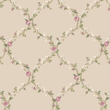 York CT0848 Callaway Cottage Elegant Rose Trellis Wallpaper