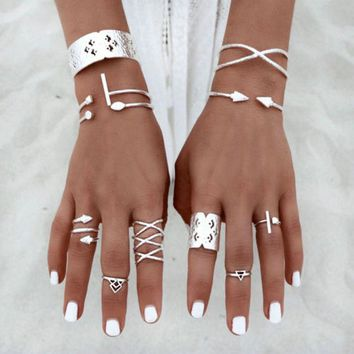 Boho Rings Set with Cuff rings, Air, Earth, Wrapping Snake Magical Symbols