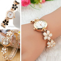 Fashion Women Lady Girl Lucky Flower Rose Daisy Flower Golden Bangle Bracelet Wrist Watch = 1956672132