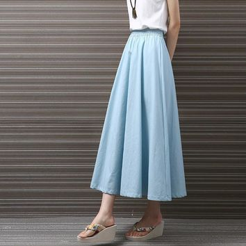 Yichaoyiliang 2017 Summer Vintage Cotton and Linen Midi Skirts Women Lolita High Waist Skirts Mid-Calf Length 90's School Skirts