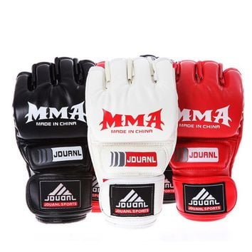 Kick Boxing Gloves PU Leather Half Finger Fight MMA Glove Muay Thai Boxing Training Fitness Boxer Fight Equipment for Adult
