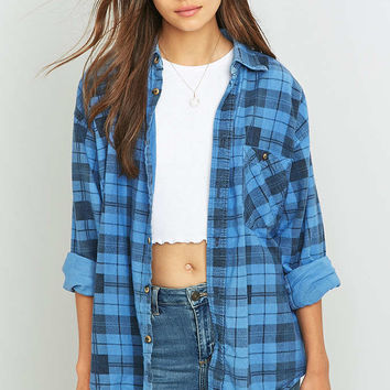 Urban Renewal Vintage Customised Overdyed Cornflower Blue Plaid Flannel Shirt - Urban Outfitters
