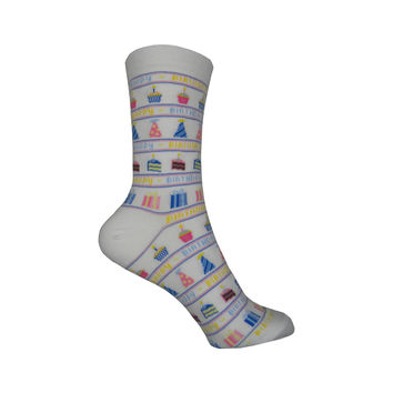 Happy Birthday Crew Socks in White