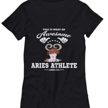 Holiday Astrology Gift Shirt Awesome Aries Athlete