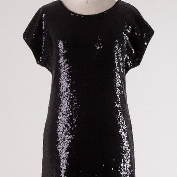 Start of the Party Short Sleeve Black Sequin Dress