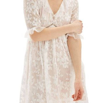 Topshop Ruffle Trim Lace Dress | Nordstrom