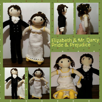 Mr Darcy & Elizabeth Bennett , Jane Austin's Pride and Prejudice dolls, choice of ONE
