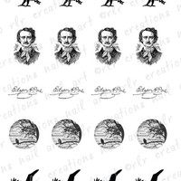 20 Nail Decals Edgar Allen Poe  POE and THE by RLRCreationsNailArt