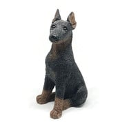 Vintage Doberman Pinscher Figurine Statue Stone Critters  Vintage Black Dog Figurine Vintage Collectible Made in America