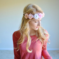 Multi Colored Rose Flower Crown Pink White Cream Rose Crown Floral Halo Hippie Headband Ombre Flower Halo Hipster Crown Headband Bohemian