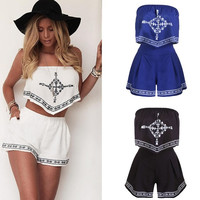 New Women's Fashion Elegant Embroidery Two Piece Suits Off Shoulder Tops + Short Pant = 5617097345