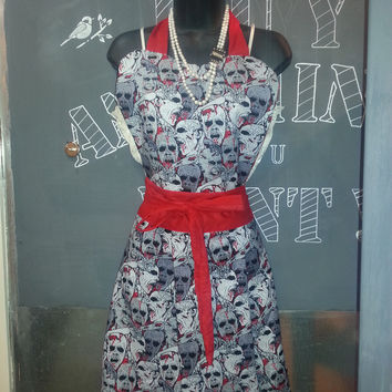 Vintage Inspired Pin-Up Girl Apron Zombies and Vibrant Red.