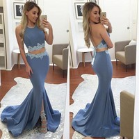 Sexy Blue prom dresses 2017 mermaid prom dress Open Back Halter Maxi Gowns vestido formatura long prom dresses Gorgeous Dress