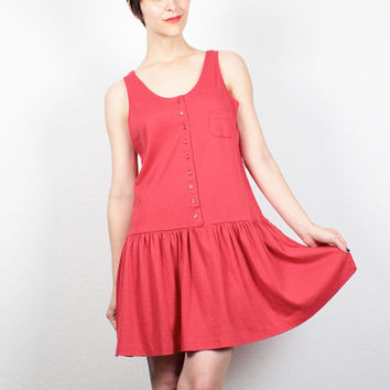 Vintage 80s Dress Mini Dress Red Dress Drop Waist Skirt Skater Dress 1980s Dress Tshirt Dress New Wave Skater Skirt Sundress M Medium