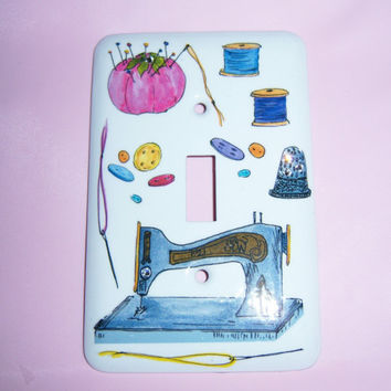 Sewing themed steel single light switch cover - swarovski crystals