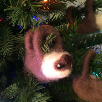 Needle-felted Sloth Christmas Ornament