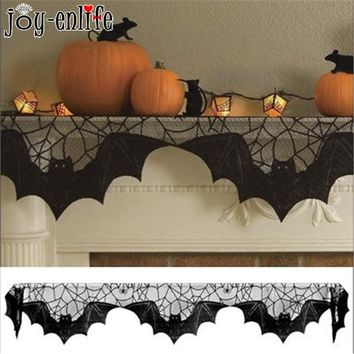 JOY-ENLIFE 203x51cm Halloween Decoration Black Lace Spiderweb Bat Table Cloth Fireplace Cloth Ghost Halloween Party Supplies