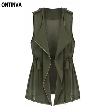 Women Tops Summer Style with Zipper Army Green Jacket Causal Cardigan Girls Vest  Femininas Veste