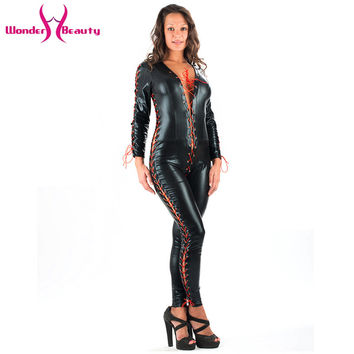 New Arrival Sexy Wetlook Faux Leather Black Long Rompers Jumpsuits Women Red Ribbon Lacing Clubwear Catsuit Jumpsuit W377955