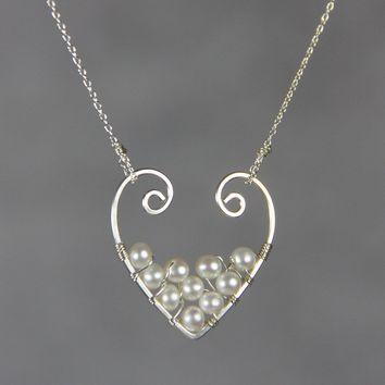 Sterling silver pearl heart pendant necklace Free US Shipping handmade anni designs