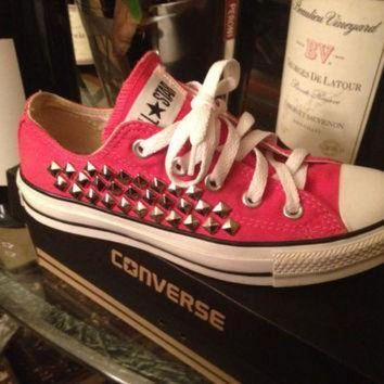 DCCK1IN studded custom pink converse all star chuck taylors all sizes colors