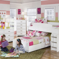 Milan White Mid High Loft Bed