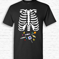 Skeleton Candy Ribcage Xray Halloween T-shirt Tshirt Tee Shirt Pregnant Pregnancy Funny Dad Father Snack Cute Creepy Couples Costume TF-166