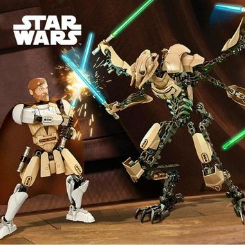 Star Wars Force Episode 1 2 3 4 5 2pcs/lot   blocks 7 General Grievous and obi-wan with Lightsaber Figure toys  blocks compatible with legoe  AT_72_6