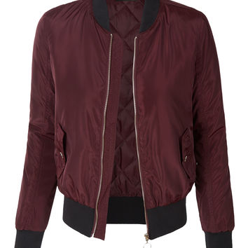 LE3NO Womens Lightweight Zip Up Varsity Bomber Jacket with Pockets
