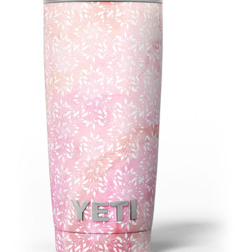 The Light Pink Watercolor Snow Crystal Yeti Rambler Skin Kit