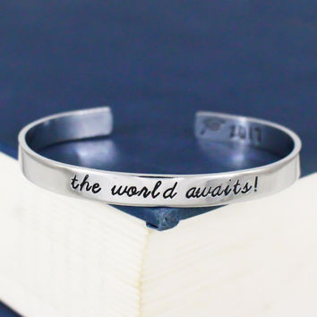 The World Awaits! Bracelet - Graduation Gift - Class of 2017 - Adjustable Aluminum Bracelet
