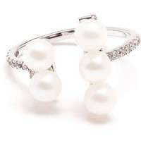 Yvonne Léon 18k White Gold Five Pearl Ring - Browns - Farfetch.com