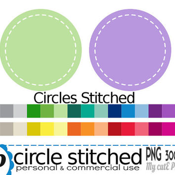 Circle with stitched border  - Clipart - 30 colors - 30 PNG files - 300 dpi - Instant download - Transparent PNG- white stitched border-CA08
