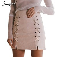 *online exclusive* high waisted suede leather skirt