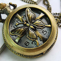Locket Pendant Necklace Watch Butterfly (PWAT0102)