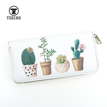 Fashion Womens Organizer Wallets Leather Print Plant Long Ladies Money Purses Zipper Coin Pocket Card Holder Casual Clutch Bag