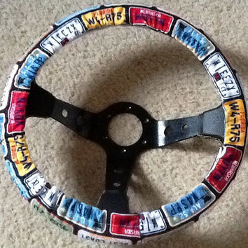 Multi color license plate print fabric steering wheel cover