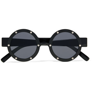 Le Specs Porthole embellished round-frame acetate sunglasses – 50% at THE OUTNET.COM