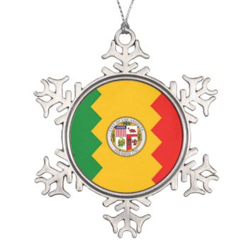 Snowflake Ornament with Los Angeles Flag