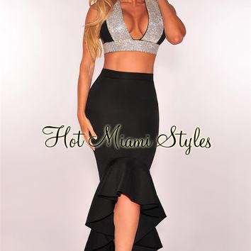Black Neoprene Ruffle Mermaid Skirt