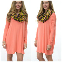 Ellington Dark Peach Piko Long Sleeve Dress