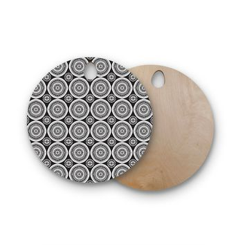 "Nandita Singh ""Circles"" Black White Round Wooden Cutting Board"